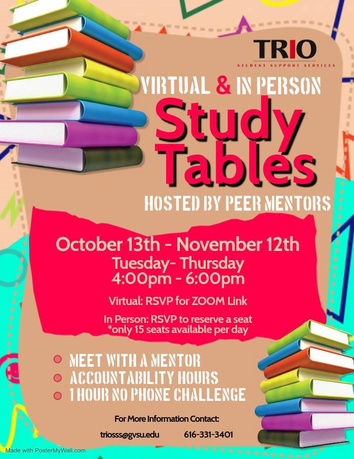 Info poster of Study Tables